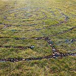 River rock and lawn labyrinth.