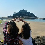 Posing before walking down to the St. Michael's Mount.