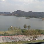 The Jal Mahal view. The small market on the side path can be enjoyed in the evening with snacks.
