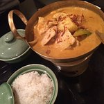 Greeted By Trip A. approval,Tom Kha Gai Soup.Chicken&TofuPad-Thai,YellCurry Chic Servd Over Cand