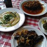 "Stuffed vine leaves, Hummus with tehina and ""Azura"" (eggplant stuffed with minced meat) at Azura"