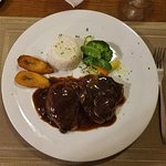 Filet mignon with mushroom gravy and just all on plate was delicious