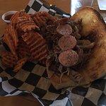 Triple Bypass Sandwich with sweet potato waffle fries.