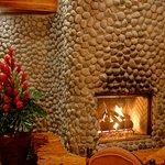 Vista Poas restaurant fireplace