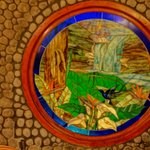 Vista Poas restaurant stained glass feature
