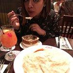 Kuki .. enjoying her onion soup