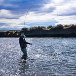 Swinging a streamer for rainbows on the Collon Cura in Argentina