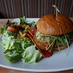 Fried Chicken Sandwich and Side Salad