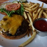 Cheeseburger and Fries on Happy Hour Menu