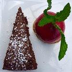Dark chocolate cake with raspberry sorbet