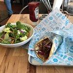 Pork gyro and kale salad