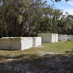 Remains of walls of many of the slave cabins
