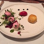 Baked goat's cheese, picked beetroot and beetroot sorbet