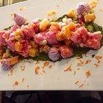 Pink Potato Gnocchi/ gold beets, blueberry lavender chevre, carrots green pesto