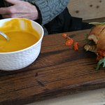 Carrot Coconut Soup and Burger