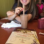 My girlfriend and I enjoying the yummy chocolate monkey shake!