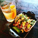 pork cheek tacos and an old fashioned