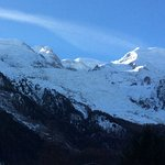 The view up to Mont Blanc from our quad room