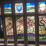 Stained glass window in the Priory Hotel