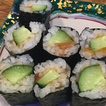 Japanese pickled plum, rolled in Nori with cucumber. Ume is very tasty with shiso leaves (my pre