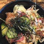 Donburi bowl. I ordered two types of fish. Hamachi and a poke creation made by the chef using to