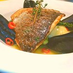 sea bass with chilli mussels