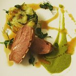 duck breast with mint pea puree and beer sauce