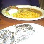 Rice, beans, guacamole, and pico de gallo. Tortillas in the front.