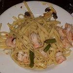 Shrimp Scampi over Fettechini