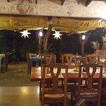 Outdoor garden restaurant, lovely and subtle lighting