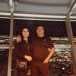 at the top, city of Las Vegas as a background