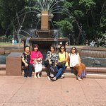 at beautiful fountain with sculptures