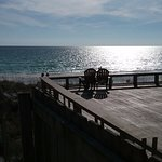 Of view past the deck of condos on the beach