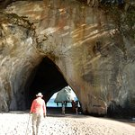 Walking into arch at Cathedral Cove