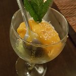 Mango sorbet with coconut and sticky rice