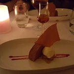 Dessert - chocolate mousse with ginger ice cream