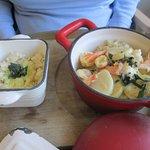 wok de crevettes et de scampis et son riz