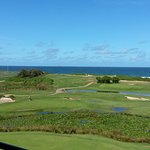 view over golf course to beach