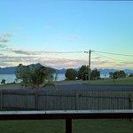 View of Hinchinbrook Island from veranda of ocean view villa .