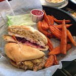 Turkey (Thanksgiving on a Bun) Special with Sweet Potato Fries