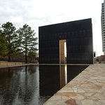 One of the massive gates framing the reflection pool