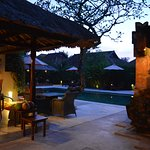 The pool and bar at dusk