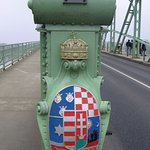 Coat of arm of the Hungarian Kingdom placed on one of the main girders