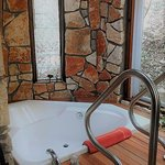 The Yurt Treehouse has an amazing 2 person tub with a waterfall shower head