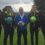 Ulster rugby stars playing Footgolf at the now open course at Mt Ober