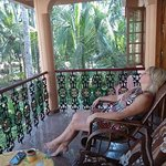 our guest nina was relaxing in the balcony Ganesh house homestay