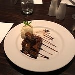 Chocolate brownie and ice cream  and the restaurant room 👍