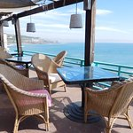 Hotel Califia restaurant porch with stunning view facing southeast