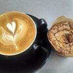 My small vanilla latte and chocolate banana muffin. Yum!