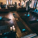 Yoga and boutique at 1905 Church - The Shiney Studios. Beautiful stain glass and 1908 Pfeffer Or